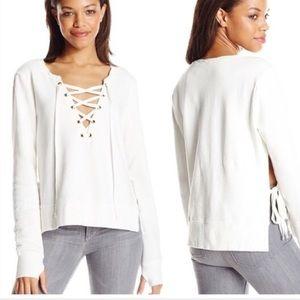 Pam & Gela Lace Up Side Slit Pullover Sweatshirt
